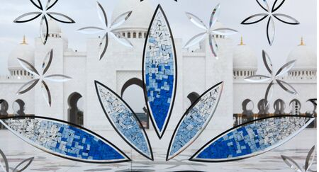 Wonderful white Sheikh Zayed mosque at Abu-Dhabi, UAE through window inside mosque Stock Photo - 16445857