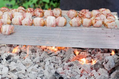 sizzling: Sizzling barbecue sticks with meat and vegetables on grill Stock Photo