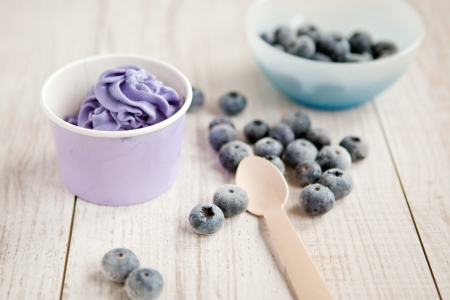 Serving of frozen creamy ice yoghurt  with whole fresh blueberries and wooden spoon with focus on berries