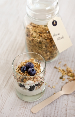 Natural yogurt with fresh blueberries and home made muesli cereals , selective focus Stock Photo - 16549896