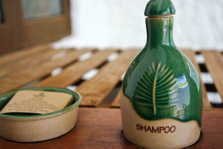 SPA cosmetics bottle with shampoo photo