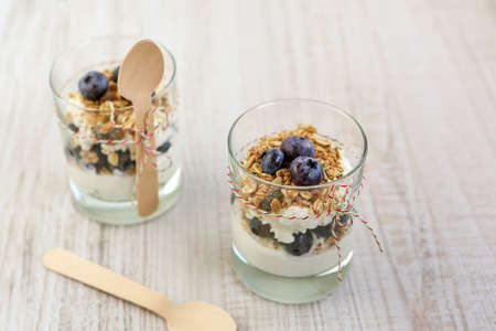 Two glasses with natural yogurt with fresh blueberries and home made muesli cereals, selective focus Stock Photo - 16853962