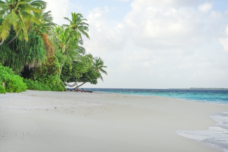 Beach with white sand on beautiful tropical island in Indian ocean, Maldives photo