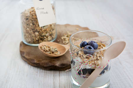 Glass with natural yogurt with fresh blueberries and jar with home made muesli cereals, selective focus Stock Photo - 16853954