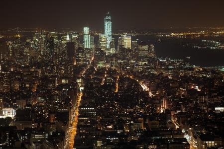 NEW YORK - OCTOBER 6: The New York City Manhattan skyline view  on October 6, 2012 in NYC. New York City Manhattan skyline view from the top of Empire State building on late night. Stock Photo - 17341483