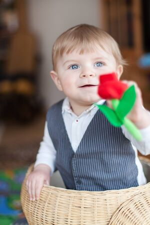 Cute baby boy playing with basket and toy flower indoor Stock Photo - 17600757