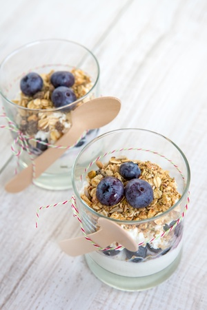 Natural yogurt with fresh blueberries and home made muesli cereals , selective focus Stock Photo - 17645060