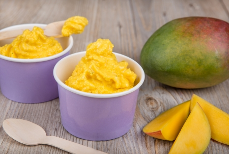 Serving of frozen homemade creamy ice yoghurt  with fresh mango and wooden spoon