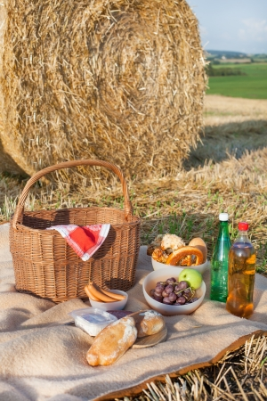 Picnic basket and different food and drinks on hay field photo