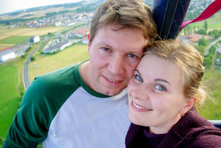 hot guy: Couple in love flying in a hot air balloon, Germany