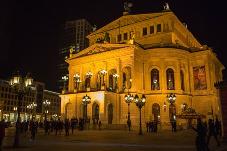 FRANKFURT - MAR 2: Alte Oper at night on March 2, 2013 in Frankfurt, Germany. Alte Oper is a concert hall built in the 1970s on the site of and resembling the old Opera House destroyed in WWII.