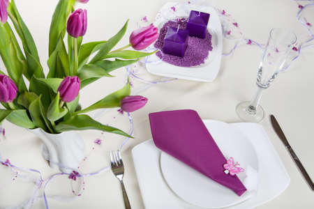 mother'sday: Table set decoration in purple for wedding, birthday or mothersday