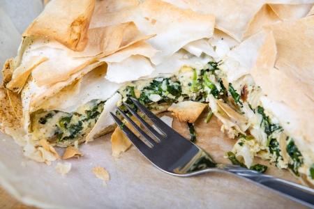 filo: Delicious spinach and feta cheese pie, with crispy filo pastry.