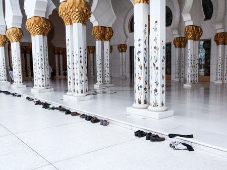 Shoes in front of Sheikh Zayed mosque at Abu-Dhabi, UAE Stock Photo - 18864444