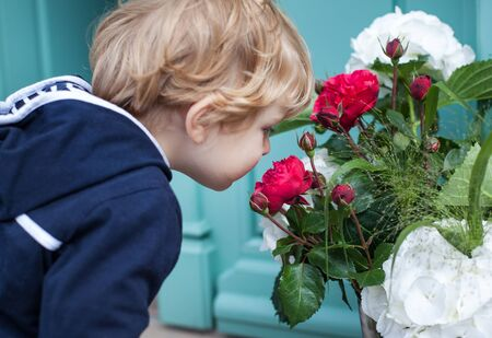 Little toddler boy with bucket of peonies in summer photo