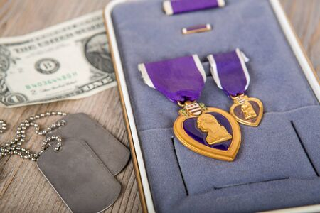 American medal:  Purple Heart Military medal in its box