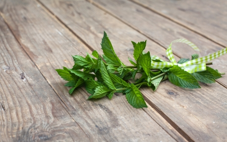pepermint plants in bunch on wooden table in summer Stock Photo