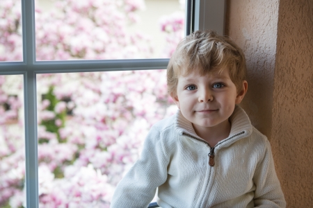 Little toddler boy looking out of the window on flowering garden