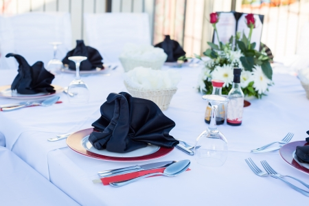 Table setting for luxurious dinner in black and white photo
