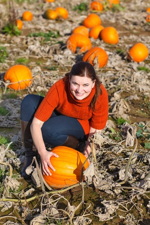 Young woman working on pumpkin field on harvest time photo