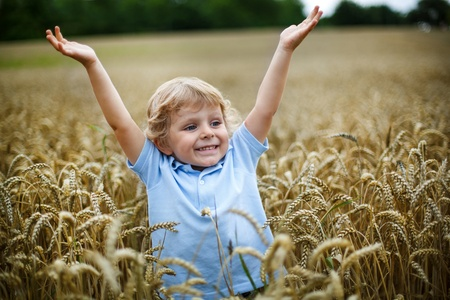 Happy little boy with blond hairs having fun in wheat field in summer photo