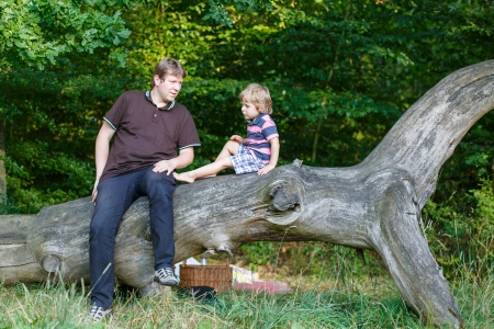 Young father and his little son having picnic in summer forest Stock Photo - 22427483