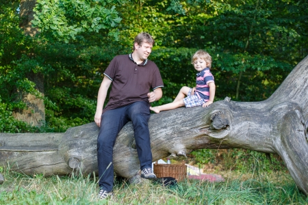 Young father and his little son having picnic in summer forest Stock Photo - 22427484