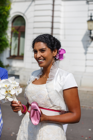 indian bride: Beautiful happy indian bride after wedding ceremony