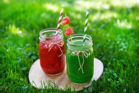 Watermelon and spinach smoothie as healthy summer drink photo