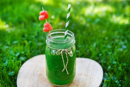 Spinach green smoothie as healthy summer drink
