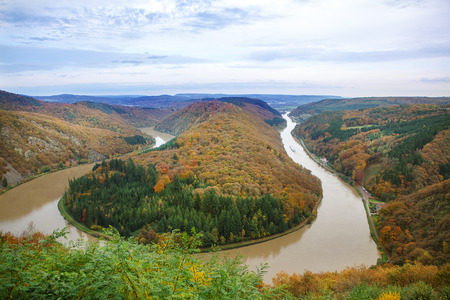 saar: Saar loop at Cloef on autumn day. A famous view point.