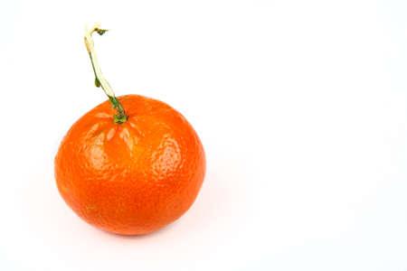 One clementine mandarin oranges. Horizontal format isolated on white background Stock Photo - 23430361