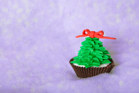 Christmas tree cupcake with white fondant Stock Photo - 24174811
