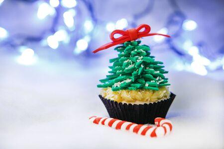 Christmas tree cupcake with white fondant Stock Photo - 24174813
