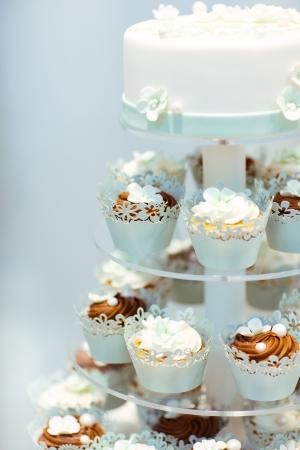 Pastel de bodas y pastelitos en marrón y crema en azul, blanco y marrón