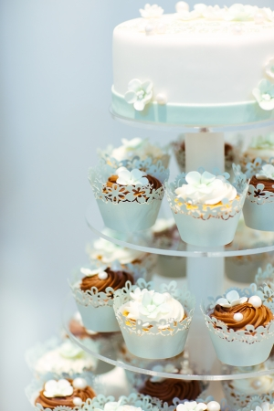 Wedding cake and cupcakes in brown and cream in blue, white and brown Stock Photo