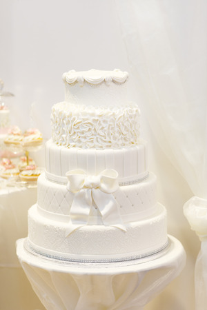 Beautiful wedding cake in white with five different levels