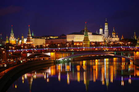 Panoramic night view of Moscow Kremlin, Russia photo