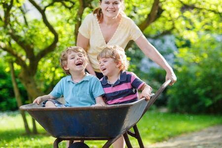 Two little boys having fun in a wheelbarrow pushing by mother in summer garden Stock Photo - 29281559