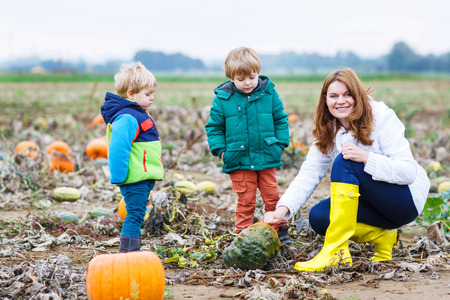 Family of three: Mother and two little siblings working on pumpkin patch photo