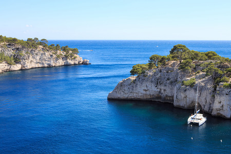 Landscape view on calanques of Port Pin in Cassis near Marseille, Provence, France. photo
