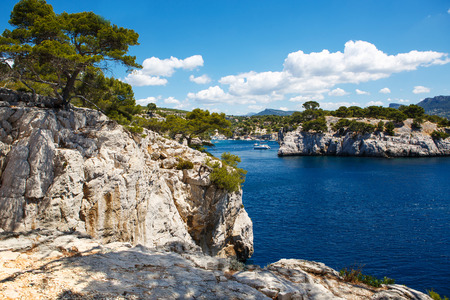 Landscape view on calanques of Port Pin in Cassis near Marseille, Provence, France. Stock Photo