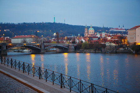 Panorama view of Prague on cold rainy spring or autumn morning, the Czech Republic photo
