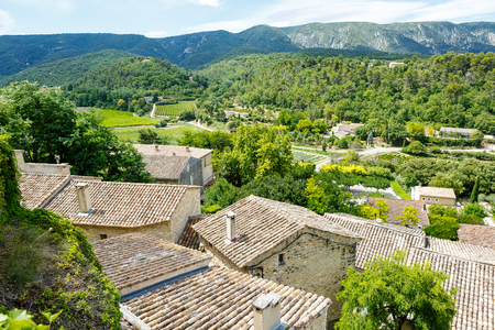 View on provencal village roof and landscape, Provence, France. On sunny summer day. photo