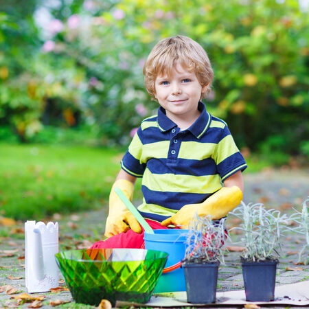 3 4 years: Adorable little blond boy gardening and planting flowers in homes garden or farm, on warm sunny day. Outdoors. Environment concept. Stock Photo