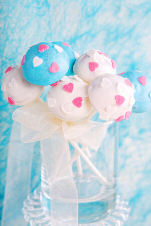 cake pops: Delicious wedding cake pops in white and soft blue