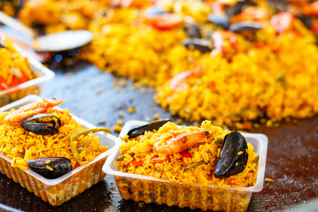 baby rice: fresh paella prepared on mediterranean street market