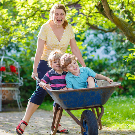 family gardening: Two little twins having fun in a wheelbarrow pushing by mum  in domestic garden, on warm sunny day. Active outdoors games for kids in summer.