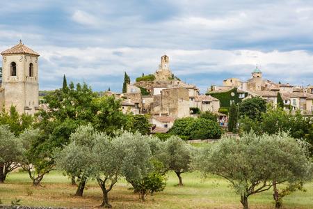 南フランス プロヴァンスの村ゴルド風光明媚な見過ごす 写真素材