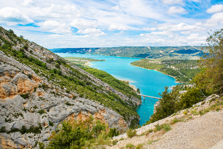 lac: Gorges du Verdon,Provence in France, Europe. Beautiful view on lac de sainte-croix on summer day.